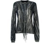 Metallic-Pullover mit Fransen - women