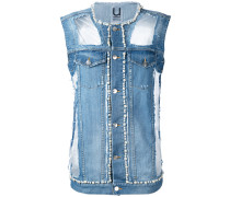 - denim pearl-embellished vest - women