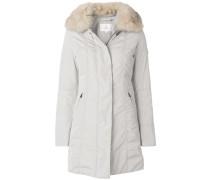 buttoned fur collar coat