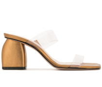 Metallic-Mules mit Blockabsatz