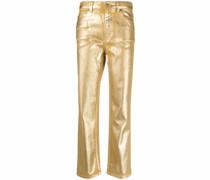 Gerade Jeans im Metallic-Look