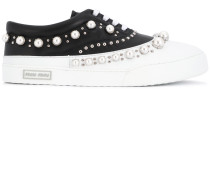 pearl studded lace-up sneakers
