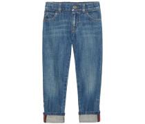 Gerade Jeans mit Webstreifen