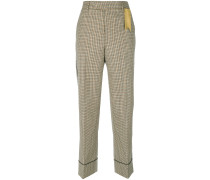 dogtooth ribbon detail trousers