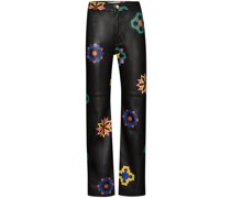 floral stitch leather trousers