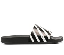 SPRAY STRIPES SLIDER BLACK WHITE