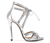 Stiletto-Sandalen im Metallic-Look
