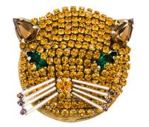 Katzenbrosche mit Kristallen