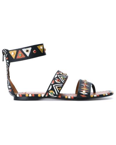 Valentino Damen Handbemalte Sandalen mit T-Riemen