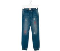 printed denim track pants