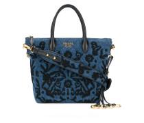 Embroidered denim handbag