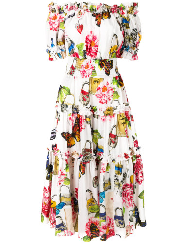 Schulterfreies Kleid mit Schmetterlingen