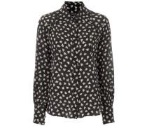 'Salina' Seidenhemd mit Feder-Print