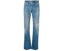 ripped trim straight-leg jeans