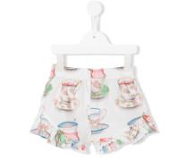Shorts mit Teetassen-Print