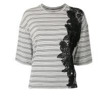 Gestreiftes T-Shirt mit Spitzendetail - women