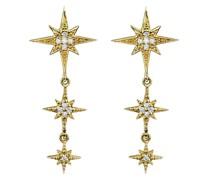 14kt Gelbgold-Hängeohrringe mit Diamantsternen