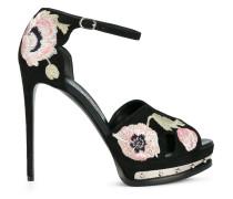Sandalen mit Mohnblumen-Stickerei