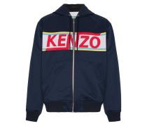 logo panelled cotton zip-up hoodie