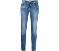 Ausgeblichene High-Waist-Jeans