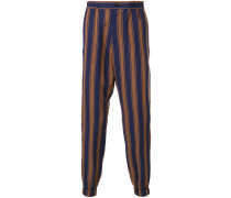 striped tapered trousers