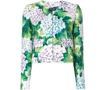 Cropped-Jacke mit Blumen-Print