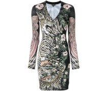 tiger and floral print bodycon dress