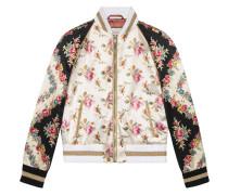 Rose print silk bomber jacket
