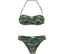 wave print bikini set