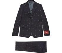 Einreihiger Anzug mit GG-Stickerei