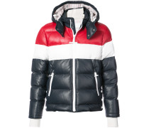 Downfilled Three Panel Leather Ski Jacket With Front Zip & Detachable Hood In Red, White And Blue Deerskin