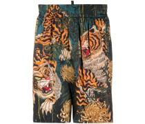 Shorts mit Tiger-Print