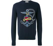 Intarsien-Pullover mit Marinemotiv