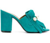 fringed block heel sandals