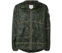camouflage logo print hooded jacket
