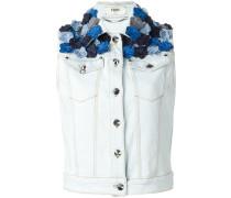 flower appliqué sleeveless denim jacket