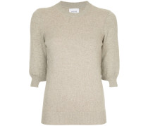 ribbed cropped sleeved sweater