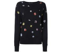 Oversized-Sweatshirt mit Blumenstickereien