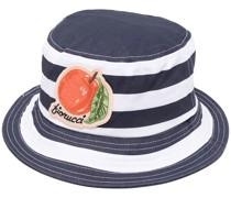 Gestreifter Fischerhut mit Logo-Patch