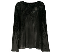 velvet detail blouse