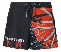 Samurai sword print swim shorts