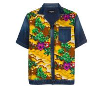 Hawaiian print denim shirt
