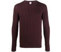 cable-knit crew neck jumper