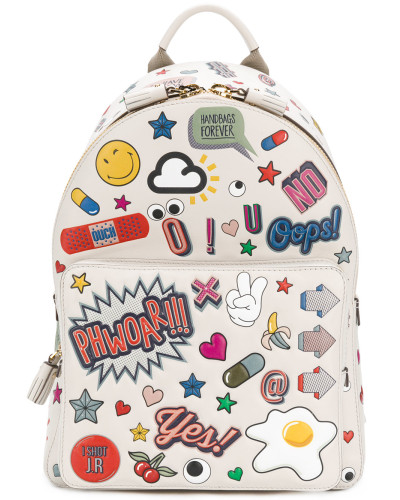 Anya Hindmarch Damen Mini Rucksack mit Stickermotiv