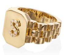 18kt Siegelring aus Gold mit Diamanten