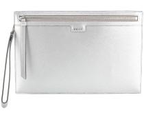zipped metallic clutch
