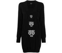 Intarsien-Pulloverkleid mit Tiger