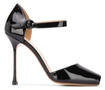 Peeptoe-Pumps aus Lackleder