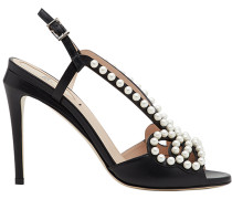 faux pearl-embellished sandals