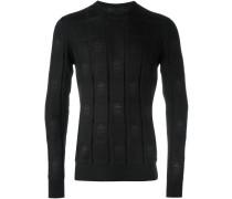 Intarsien-Pullover mit Totenkopfmuster